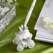 Fashion Wedding Pen with Elegent Pumpkin Coach Pen Stand Excellent Wedding Supplies Wedding Decoration(China)