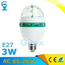 Colorful LED Stage Light E27 3W Auto Rotating RGB LED Bulb Stage Light Party Lamp Disco Ball Party Light(China)