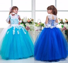 FG8001 Cute Lace Flower Girl Dresses 2017 Scoop Neck Turquoise Royal Blue Girls First Communion Dress Cheap Child Pageant Dress