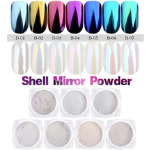 1g/box Shell Mirror Powder Nail Art Pigment Gold Blue Purple Shining Glitter Dust Chrome Nail Decorations Manicure Tools(China)