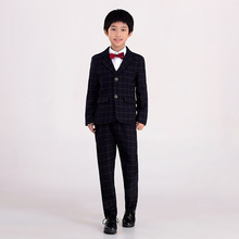 2017 New Boys Suits for Weddings Kids Long Sleeve Grey Checked Clothes Suit for Party Boys Blazer Jacket Children Clothing 1C07