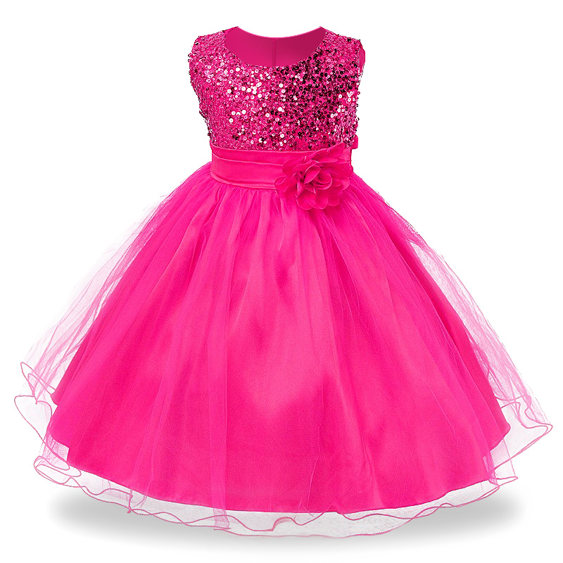 3-14yrs Hot Selling Baby Girls Flower sequins Dress High quality Party Princess Dress Children kids clothes 9colors(China (Mainland))