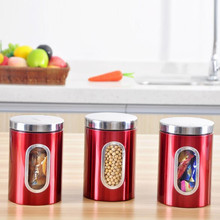3Pcs/Lot Stainless Steel Canister Storage Box Tea Coffee Sugar Nuts Candy Storage Jar Tea Canister Spices Box Red(China)