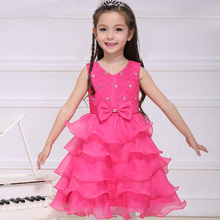 evening dresses kids little girl wedding dress pretty girls children white pink rose watermelon champagne red tulle frocks NQ173(China)