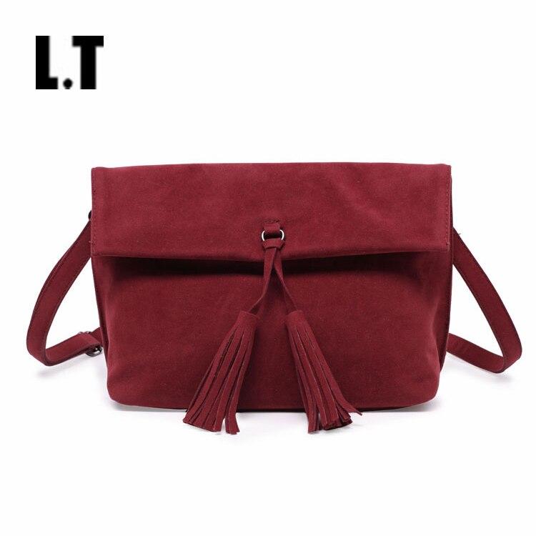 2017 Women Fashion Autumn Burgundy Clutch Bag Casual Trendy PU Leather Plain Simple Tassel Fringed Wristlet Shoulder Purse Bags<br><br>Aliexpress