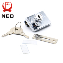 12PCS NED-417 Double Glass Lock Zinc Alloy Showcase Glass Cabinet Door Cylinder Lock Sliding Glass Push Door Lock With 2Key