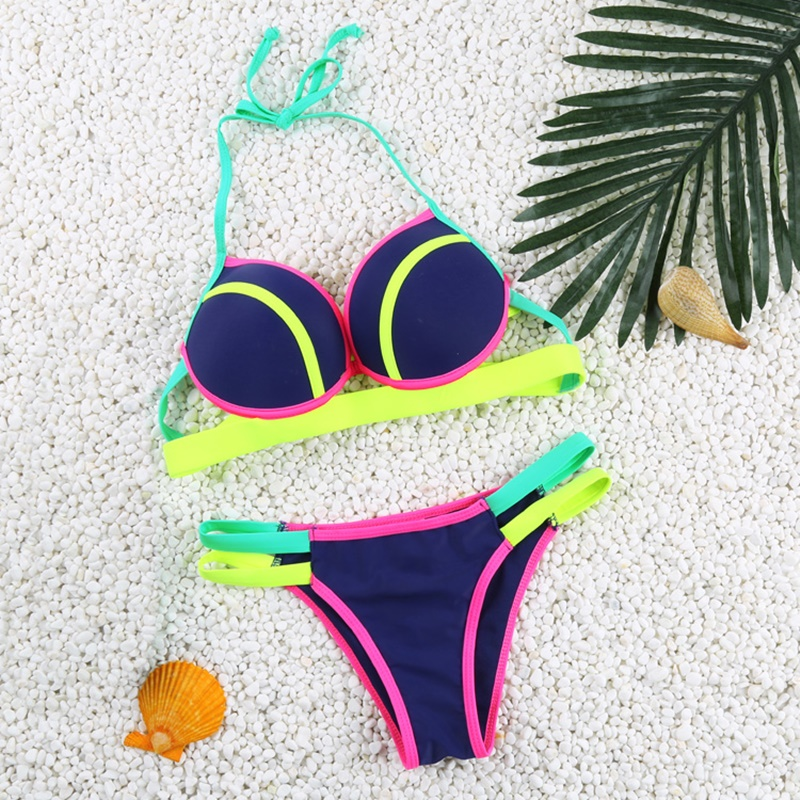 High Waist Padded Swimsuit Sexy Beach Swimwear Women Swimwear Numeral Print Bathing Suit Brazilian Bikini<br><br>Aliexpress