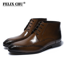 펠릭스 추 2018 Classic Style Genuine Leather Men Ankle Boots Round Toe Lace Up (High) 저 (Top 공식적인 Shoes Black Brown 남성 신발쏙 ~(China)
