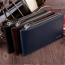 2017 Men Wallets Clutch Double Zipper High Quality Leather Bifold Wallets Coin Purse Business Clutch Card Holder Handbags