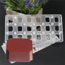 18 cavities rectangle cube shape magnetic chocolate mold PC transfer candy sweet sugar craft biscuit cheese moulding accessories