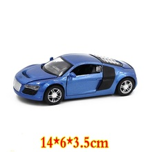 Alloy model car 1: 32 R8 sports car model sound and light alloy pull back toy car four-door car model Toys