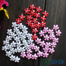 20Pcs/Lot Resin Flower Patch Wedding headdress shoes manual diy nail bead flower applique Phone drill decoration Pink Red White(China)