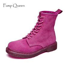 Purple Motorcycle Boots Rose Red Women Ankle Boots Green Shoes Woman 2018 Spring Real Leather Lace Up Female Shoes zapatos mujer(China)