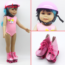 Pink Sports safety helmet Sun Helmet Hat + Pink PU Roller Skates Boots Shoes For 18inch American girls Doll Accessories Gift(China)