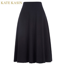 Buy Long Maxi Women Summer Skirts Faldas High Stretchy Kate Kasin Cotton High Waist Pleated Jupe Female Clothes Navy Blue Skirt for $14.32 in AliExpress store