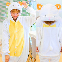 Women Flannel Sheep Animal Long Sleeved Pajama Sets Winter Cartoon Hooded Halloween Pijama Overall Cosplay Costume For Christmas