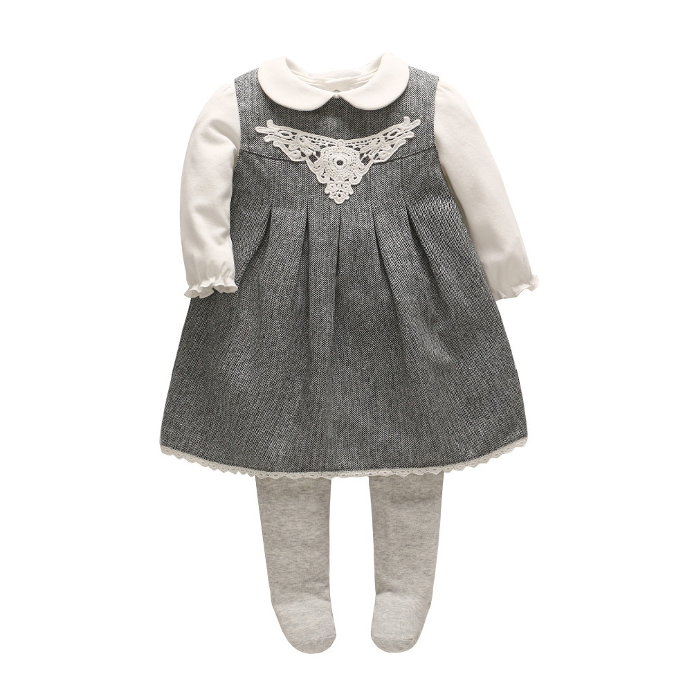 2018 Vlinder new baby sets 3pcs baby girl clothes Cute doll shirt+Pantyhose+baby dress cotton full sleeves dress baby rompers<br>