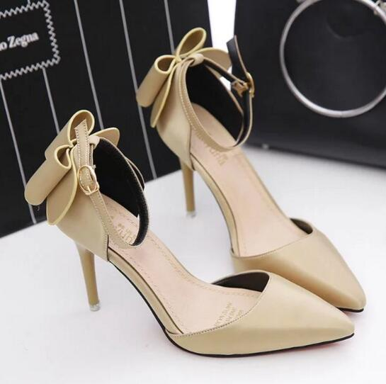 2017 new Fashion Womens High Heels shoes Ladies pump   Sexy Buckle  Spring summer Bowknot womens high heels Free shipping D07<br><br>Aliexpress