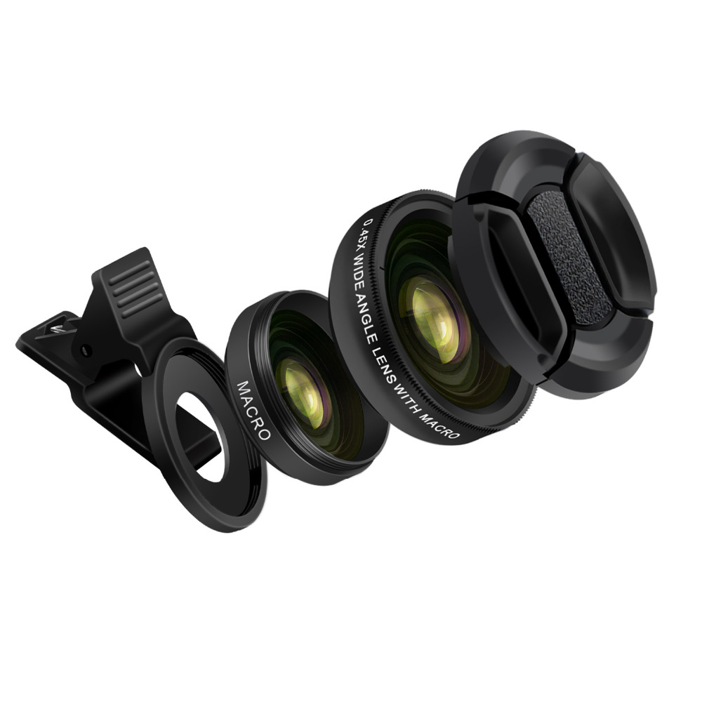 Turata Phone Lens, 2 in 1 HD Camera Fisheye Lens [0.45X Wide Angle + 12.5X Macro] Clip-on Kit Lens For iPhone 5 5S SE 6 6S 7 2