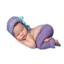2017 Hot Sale Newborn Baby Photography Props Made To Knit Soft Hand Beautiful purple Cap Baby And Pants Bebek Clothes 0-6 Months