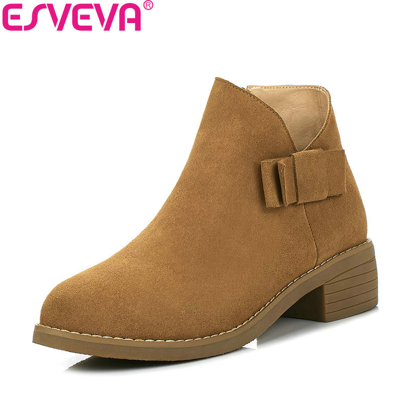 ESVEVA 2018 Women Boots Butterfly-knot Cow Suede Square Med Heel Ankle Boots Inside PU/synthetic Zipper Ladies Boots Size 34-40<br>