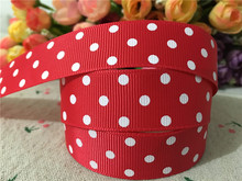 15113029,New arrival 7/8'' (22mm) #252 color hot red polka dots printed grosgrain ribbons DIY hairbow ribbon 10 yards