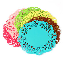 5Pcs/Lot Lovely Silicone Lace Flower Cup Mat Coaster Non slip And Spill Cushion Lace Paper Placemats Kitchen Tools Supplies #20