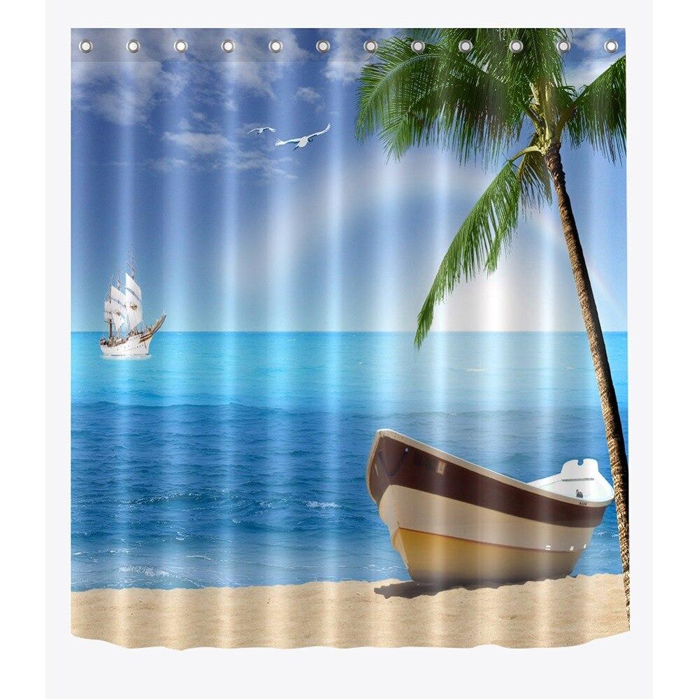 """Bay Bateau Pirate Paysage Tissu rideau de douche Crochets Salle de Bain Accessoire Sets 72/"""""""