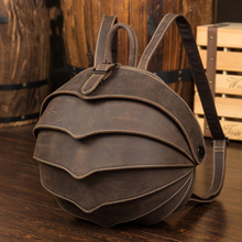 High Quality Cow Genuine Leather Backpack Men Crazy Horse Leather School Bag Personality  Bettle Vintage Daypacks X001