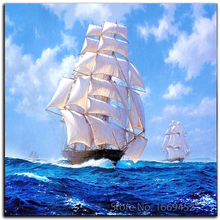 5d diamond painting sailboat At sea diy diamond pattern Kits for embroidery with beads picture of rhinestones embroidery stones(China)