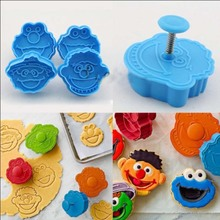 3D Sesame Street Fondant Cookie Cutter Biscuit Hand Stamp Press Plunger Mould 4 pcs/set