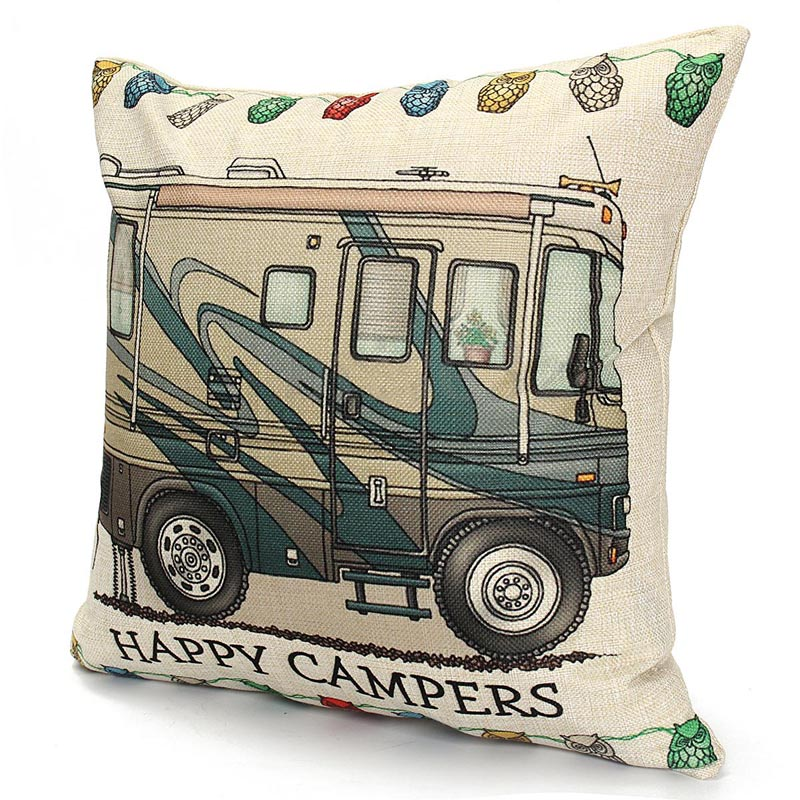Camper Pillow Cover Colorful Pillow Case Happy Campers Cushion Covers for Home Sofa Decoration Pillowcase