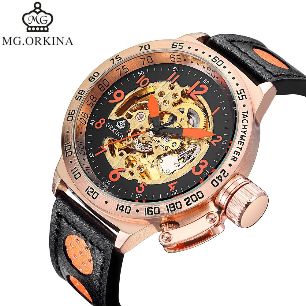2017 MG.Orkina Mens Watches Top Brand Luxury Skeleton Auto Mechanical Watch Wristwatches Box Free Ship<br>