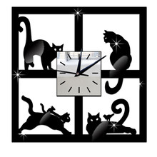 New Qualified 3D Cat Mirror Black Wall Clock Modern Design Home Decor Watch Wall Sticker Silent quartz wall clock movement OC27(China)