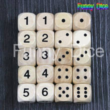 16mm Wooden D6 Dices with Black Standard Dots and Digital for Board Game,Games Workshop,as Education Game Pieces,Casino Dice(China)
