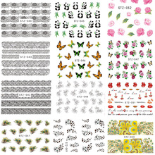 1Sheet Hot Nail Art Water Transfer Flower/Cartoon/Lips Design Nail Sticker Decals DIY Foils Manicure Tip Decoration BESTZ032-062(China)
