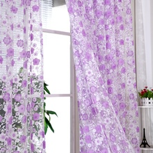 95cm x 200cm Chiffon Pastoral Floral Scarfs Sheer Voile Door Window Curtain Drape Panel Valances