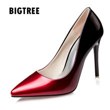 2017 Women pumps Fashion gradient color High heels single shoes female Spring Summer patent leather wedding party shoes woman(China)