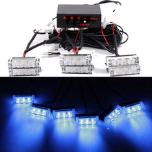 18 LED 30W 12V DC Car Fog Light Emergency Vehicle Strobe Lights Car Flash Warning Light Car styling Grille/Deck Head Lamp Blue