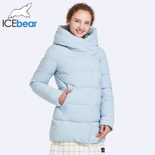 ICEbear 2017 High Quality Windproof Fabric Autumn And Winter Jacket Women Oblique Zipper Placket Design Thick Coat 17G6508D(China)