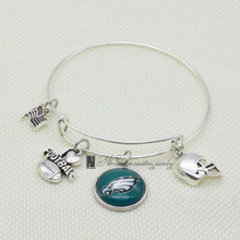 2017 Trendy Football Handcrafted Bracelet Philadelphia Eagles Charm Bracelet&Bangle Couple Love Bracelet Jewelry Accessories(China)