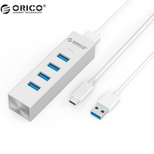 ORICO Mac Style Aluminum 4 Port USB3.0 HUB With Type C Cable 5Gbps SuperSpeed Mini Desktop HUB - Silver( ASH4-U3)(China)