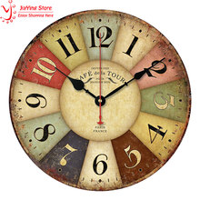 2016 New Best Roman Numeral Number Rustic Wood Wall Clock 3D Home Decor Living Room Wall Clock European Style Colorful(China)