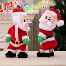 Electric Twerk Santa Claus Toy Xmas Music Singing Dancing Twisted Wiggle Hip Doll Christmas Home Decoration Kids Gifts M(China)