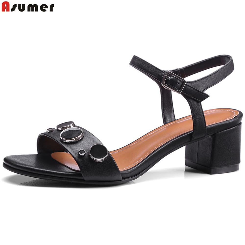ASUMER fashion square heel buckle 2018 new black gray genuine leather heel sandals buckle casual cow leather high heels shoes<br>