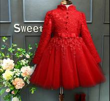 Red Lace Girl Dress High collar Wedding Evening Party Dress Long Sleeve Girls Vestido Princess Formal Gown