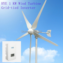 HYE 1kw wind grid tie home system with 1000W wind turbine generator and  grie tie inverter