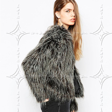 2017 New Women Fashion Winter fur Faux Coat Black long Leisure V - neck Imitation ostrich hair Long sleeve Leisure Jacket
