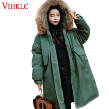 Anti-Season Treatment 2018 New Korean Version Loose Winter Thick Cotton Parkas Long Section Fur Collar Cotton Coats Female Z319(China)