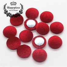 15mm 50pcs Red Korean Velvet Fabric Covered Round Home Sewing Buttons Flatback DIY Scrapbook Craft